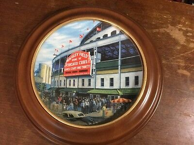 """Wrigley Field Plate """"Take me out to the Ball Game"""" With Oak Frame"""