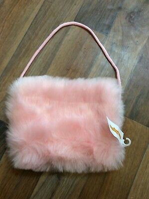 Furry pink Hand Muff In Faux Fur One Size New With Tags