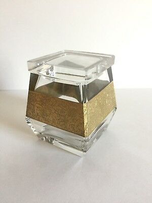 Vintage MOSER Art Glass Crystal Box Cut with Gold Gilt Signed ~ From Prague 1991