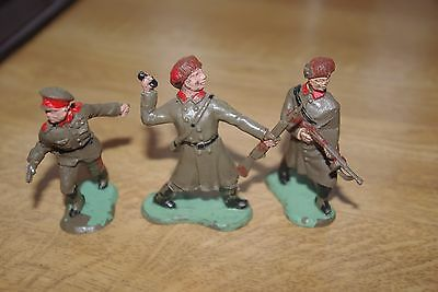 Vintage Plastic Crescent Brand Russian Soldiers X3