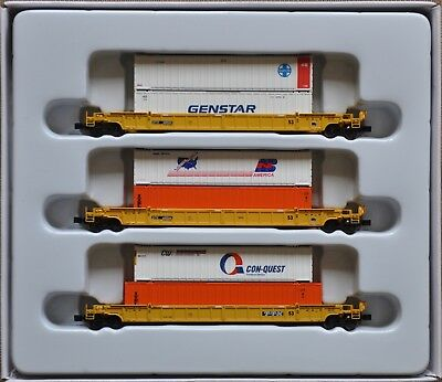 1:220 Z Scale Azl Dttx 3 Well Car Set With Five 48' Containers & One 53'