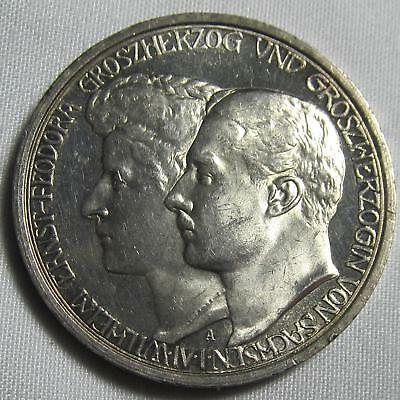 """Germany/Saxe-Weimar-Eisenach 1910 A Silver 3 Mark """"Grand Duke's Second Marriage"""""""