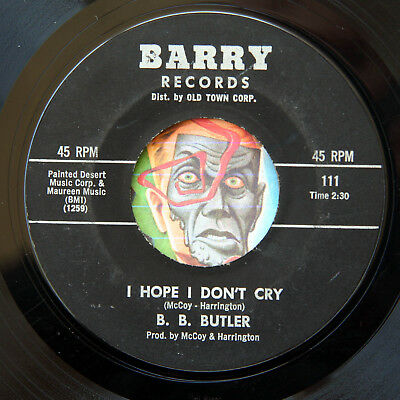 HEAR B.B. Butler 45 Hope I Dont Cry/At Long As You Love Me BARRY deep soul R&B