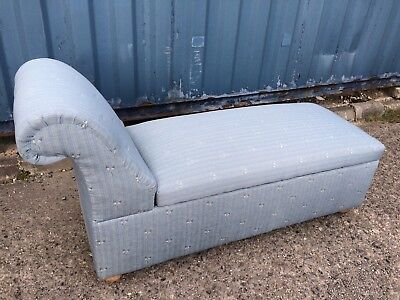 Quirky Blue Upholstered Day-Bed/ Chaise Longue Ottoman Storage