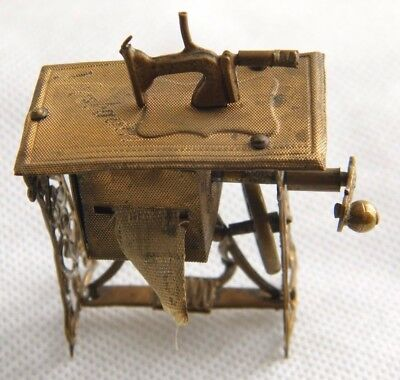 Antique Victorian Rare Tin Miniature Sewing Machine With Tape Measure