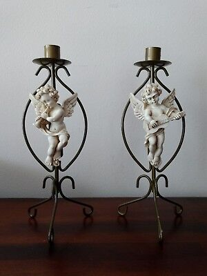 "Vintage Resin Cupid Angel Candlestick Brass Metal Stands 11"" H Lot of 2"