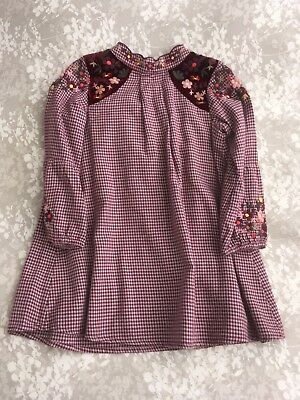 Next 1-5-2yr Wine Gingham And Floral Embroidered Dress