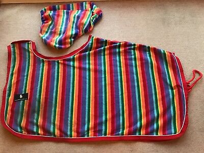 Derby House Rainbow Stripe Fleece Pony Exercise Sheet And Matching Saddle Cover