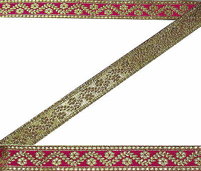 "2""W Indian Embroidered Prom Dress Border Trim Pink Ribbon Craft COLLECTIBLE 9Y"