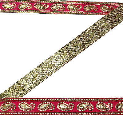 "2""W Indian Embroidered Prom Dress Border Trim Pink Ribbon Craft COLLECTIBLE 5Y"