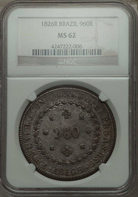 Brazil 1826 Rio Mint 960 Reis NGC MS62 - Overstamped on Spanish 8 Reale Dollar!
