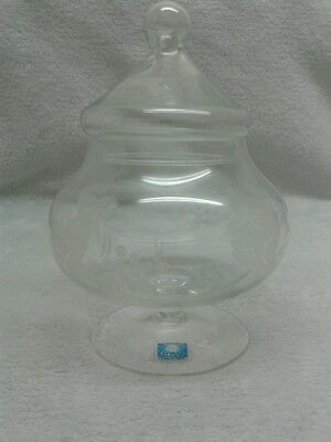 Vintage Rayware Glass Jar with Etched leaves and Grapes, lovely condition
