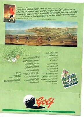 Five Royal Mint Golf Stamps