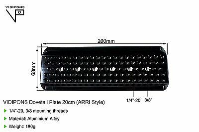 "VIDIPONS (Sale 7i) Dovetail Plate 20cm(8"") Arri style,Camera 1/4""-20, 3/8"""
