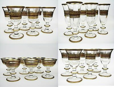 Old Set Of 24 Italian Murano Drinking Wine Glasses Xxthc Calici Di Vetro Venezia
