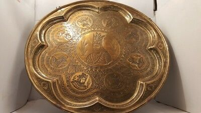 Antique Islamic Brass Tray Indo Persian Kings  Qalamzani Engraved