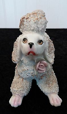 Vintage 1950'S Rare Large EMPRESS Porcelain Spaghetti Poodle with Gold Accents