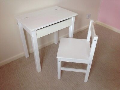 Child's White Desk and Chair