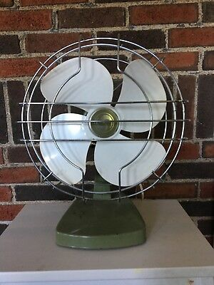 "Vintage Mid Century Superior FAN WORKS Oscillating Desk 14"" Metal 50s 60s Green"