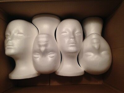 Lot of 4 Styrofoam heads, female