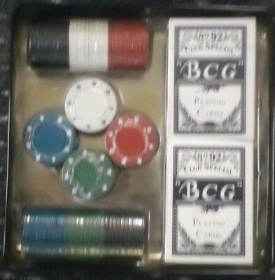 Poker Set with 100 Chips and 2 Packs of Playing Cards BNIB Never Been Used
