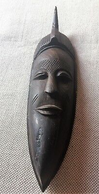 Vintage hand carved dark wood African Woman wall figurine sculpture 1970