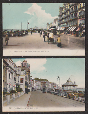 2X Hastings Ll Louis Levy Colour Postcards Tram White Rock & Parade 137 & 139