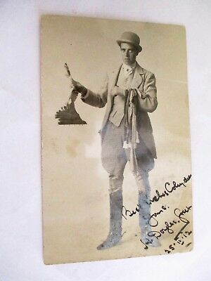 Gent in Plus Fours & Bowler - Old Hunting / Horse Riding / Magician ? Postcard