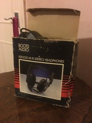 Vintage Boots Audio H2000 Stereo Headphones Boxed Vgc