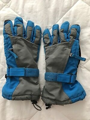 Lands End Kids Squall Ski Gloves Boys Medium Blue