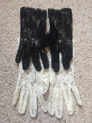 Vintage Lace Gloves black and white