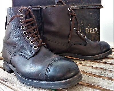 Vintage leather boots 1942 Swedish army living history Goodwood Steampunk Size9