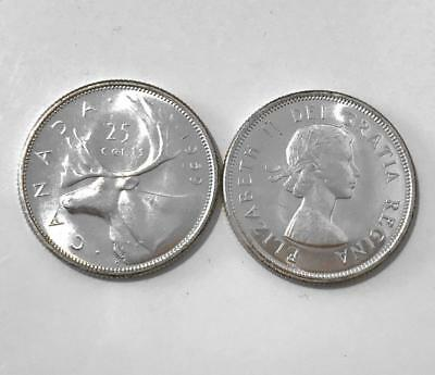 CANADA 1959 Ch-UNC Silver 25-cent Quarter from Mint Roll - MS64 or higher!!