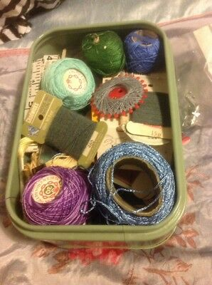 Tin Of Vintage Sewing Items