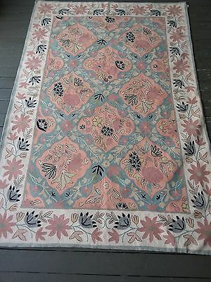 Hand Made Vintage Crewel Stiched Rug. Perfect Shape Lovely Colors