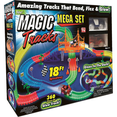 Magic Tracks 18 ft 360 Pcs Mega Set With LED Race Cars Glow In The Dark Kid Gift