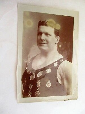 Jabez Wolffe & Medals - Old Channel Swimmer Photograph