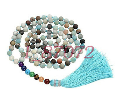 Amazonite 7 Chakra Mala Prayer Beads 108 Healing Gemstone men Bracelet/Necklace