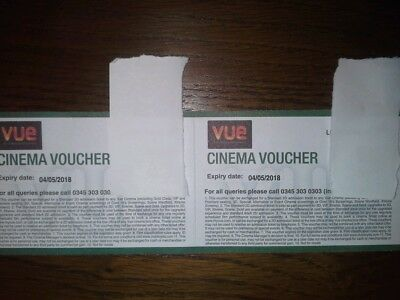 Pair of Vue cinema tickets exp May 2018