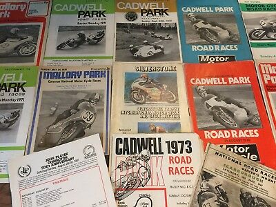 Motorcycle Race Programmes / Job Lot Of 12 Various / Cadwell / Mallory / Olivers