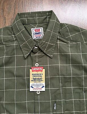 Vintage LEVIS Mens Green Striped Western Shirt Size M Made in Portugal Retro
