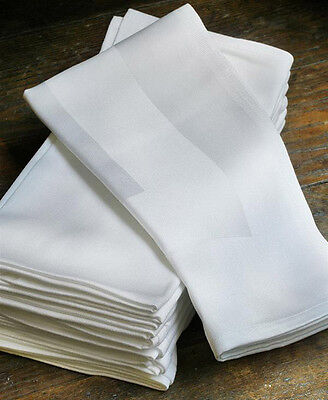 100% Egyptian Cotton Satin Band White Napkins For Hotel Restaurant Linen service