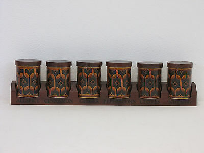 Retro 1970s Hornsea Heirloom Brown Set of Six Spice Jars with Wooden Stand/Rack