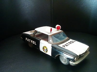 Ichiko 1960 9.25 Inches Japan Tin Toy Car Friction Chevrolet Corvair Patrol