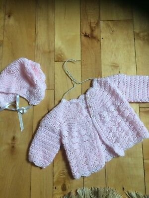 Hand Knit Baby Girl Pink Sweater And Bonnet 6-9 Month