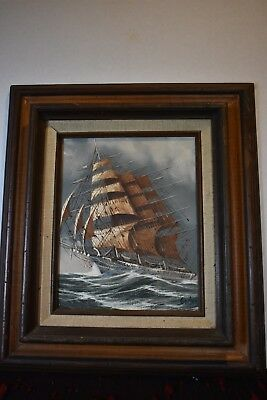 Antique Maritime Clipper Ship in Rough Seas Signed Oil Painting