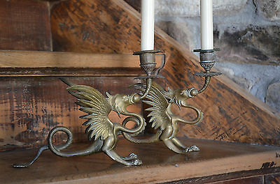2 antike Kerzenleuchter Drachen Fabeltier 19Jh Messingguss antique candle dragon