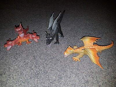 3 x PVC plastic dragons - fantasy medieval play