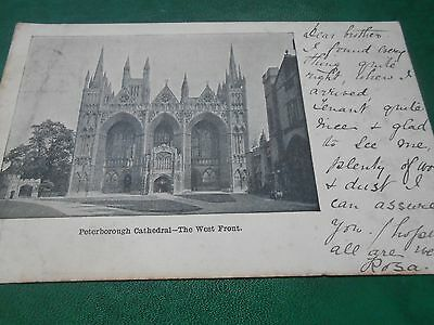 Old postcard, Peterborough Cathedral, posted Birmingham 1902