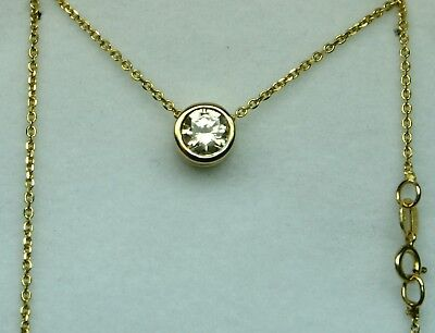 Diamond solitaire necklace 0.50ct 1990's No Reserve! 14kt yellow gold EXCELLENT